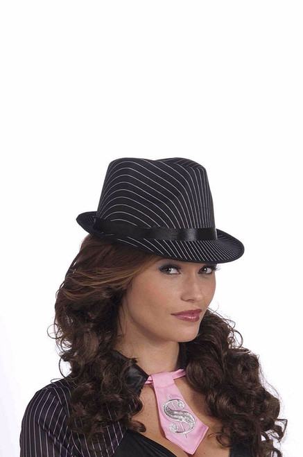 Black Pin Stripe Fedora