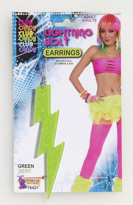 Lightening Bolt Earrings Green