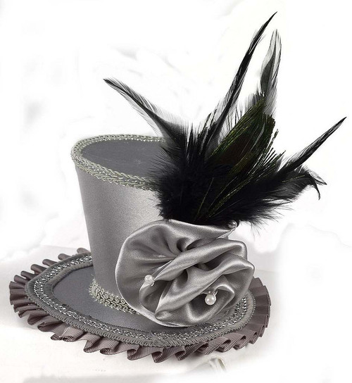 Mini Grey Top Hat with Rose