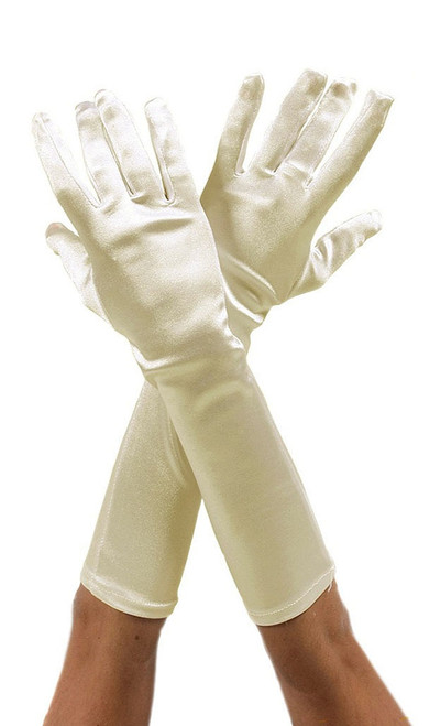 Long Beige Satin Gloves