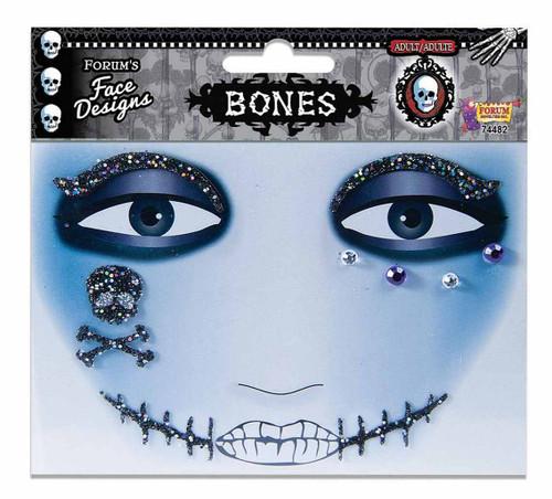 Bones Glitter Face Tattoo