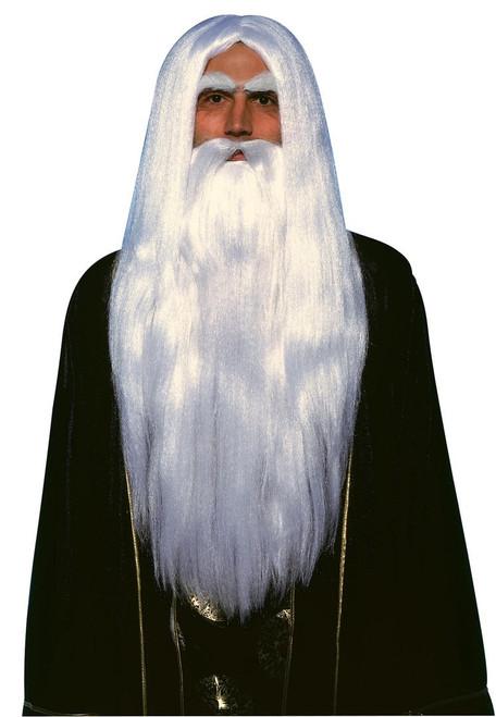Merlin white Wig and Beard Set