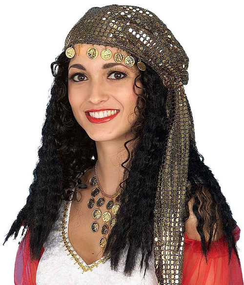 Gypsy black Wig with Scarf