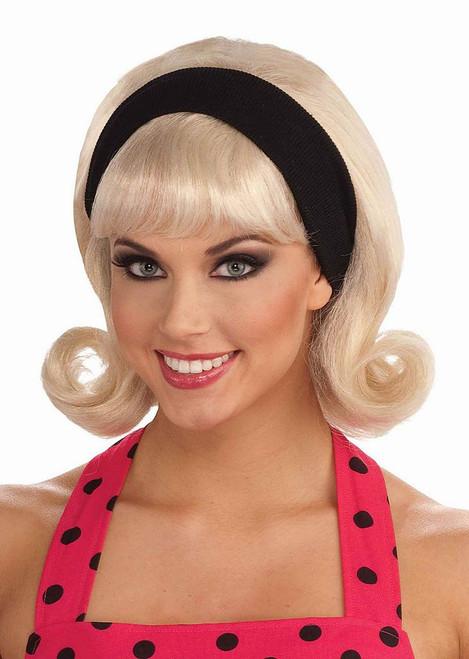 50's Flip Wig Headband Blonde