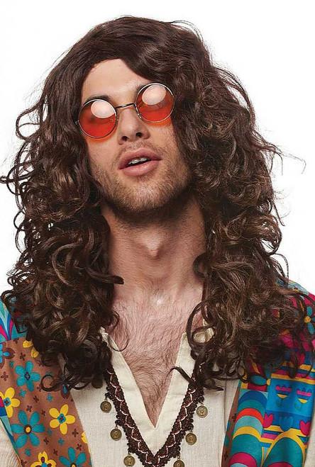 Men's Long Brown Hippie Wig