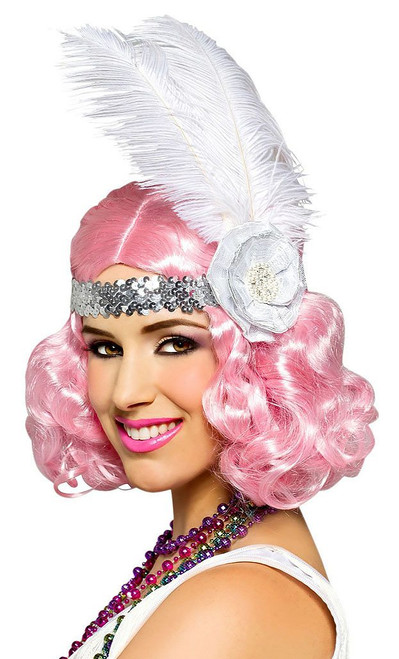 Party Flapper Wig Icy Pink