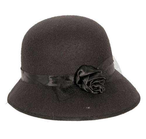 Cloche Hat Simwool 20's Black