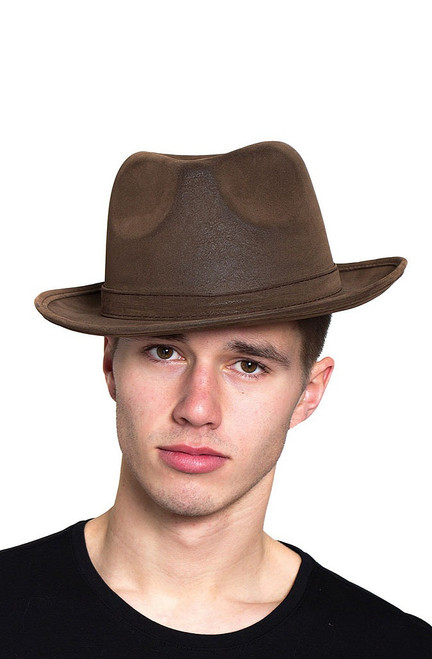Leatherlike Brown Gangster Hat
