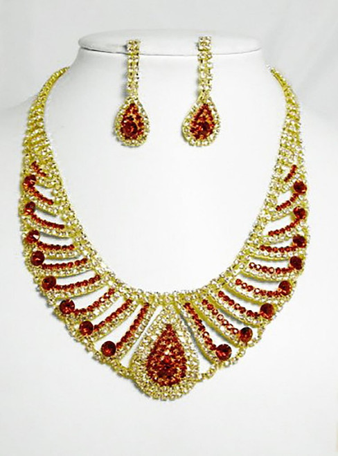 Gold & Red Necklace Set