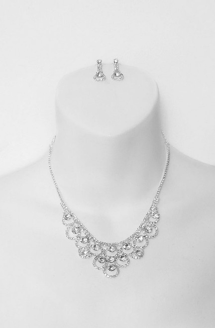 Rhinestone Necklace Silver Set