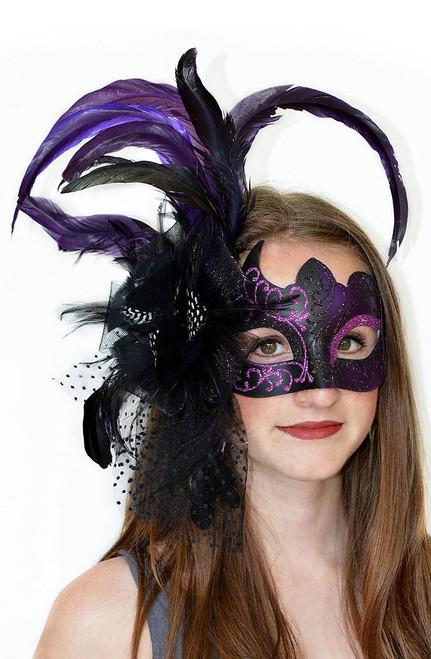 Venetian Purple & Black Mask