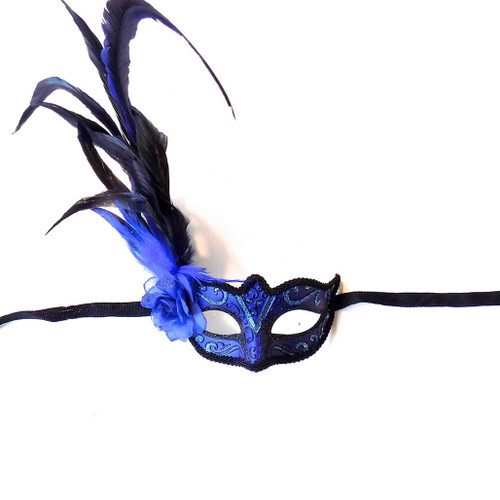Venetian Mask with Flower Blue