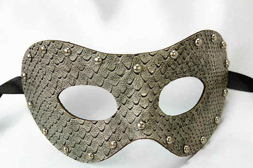 Fake Snakeskin Studded Mask