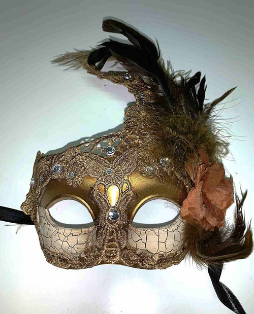 Venetian Mask with Brown Flower and Feather