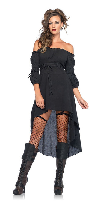 Gauze Peasant Dress Black
