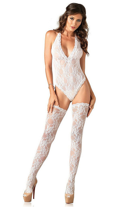 White Floral Lace Teddy and Stockings