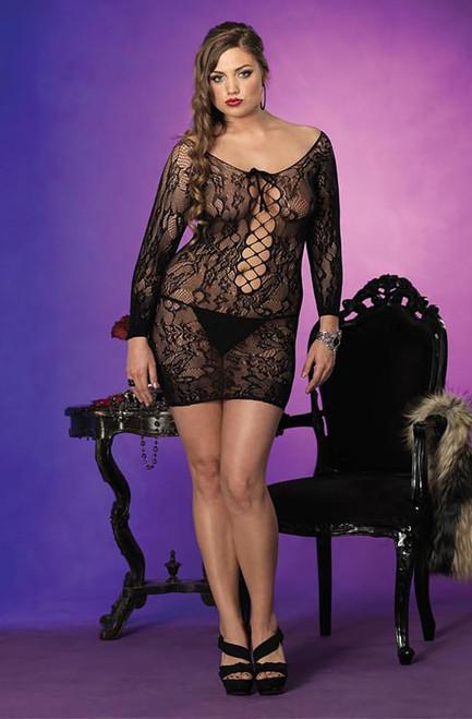 Plus Size Floral Lace Mini Dress