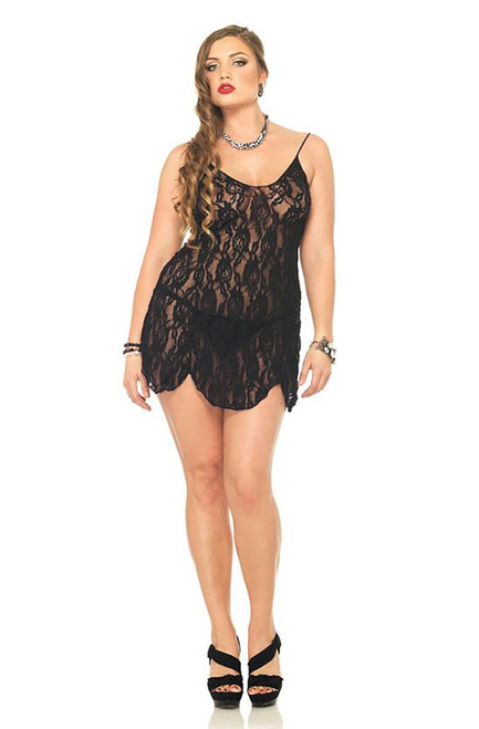 Plus Size Floral Lace Chemise and G-string