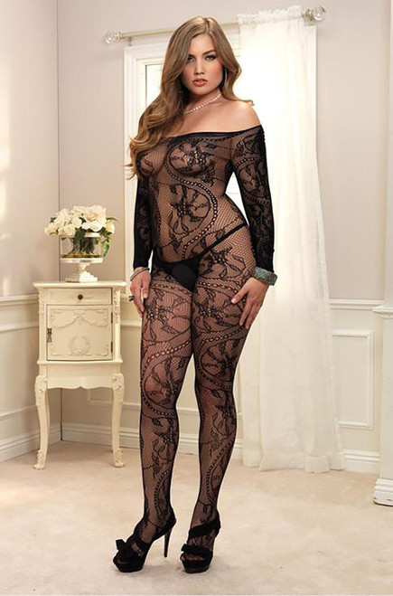 Plus Size Floral Lace Off the Shoulder Bodystocking