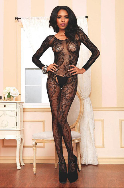 Black Lace Long Sleeve Bodystocking
