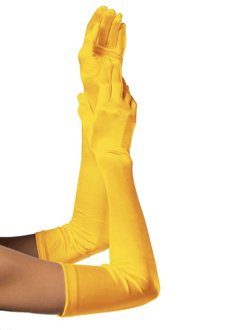 Extra Long Satin Gloves Yellow