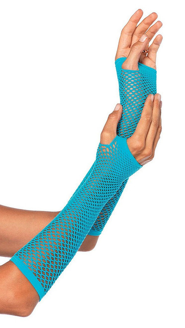 Net Fingerless Gloves Blue