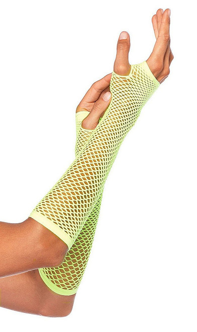 Green Net Fingerless Gloves