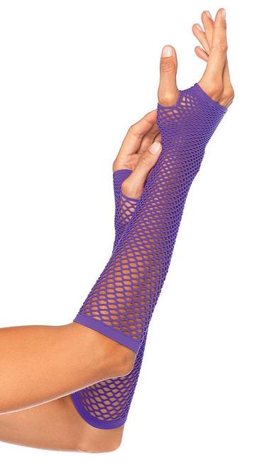 Purple Net Fingerless Gloves