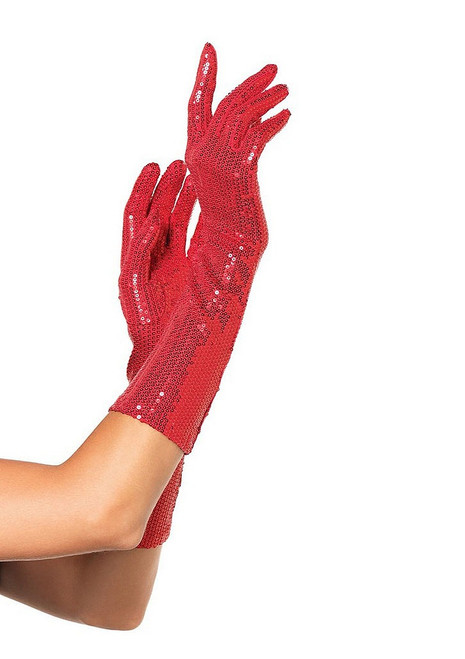 Red Sequin Gloves