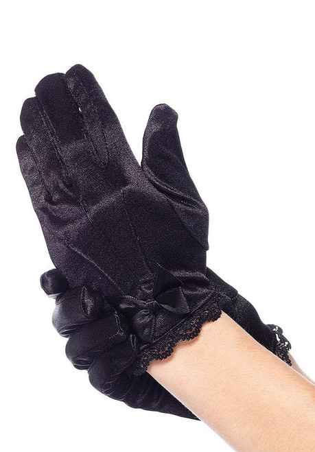 Child Satin Gloves Black