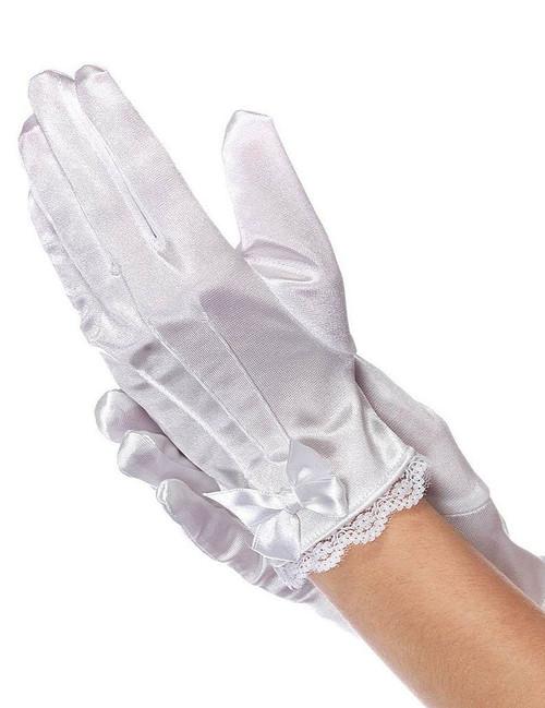 Child Satin Gloves White