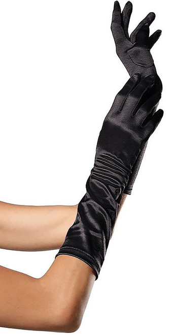 Satin Elbow Length Glove Black