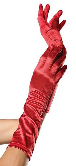 Satin Elbow Length Glove Red