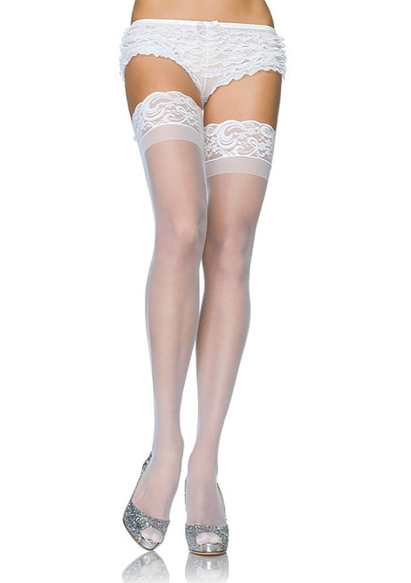 Plus Sheer Thigh Highs White