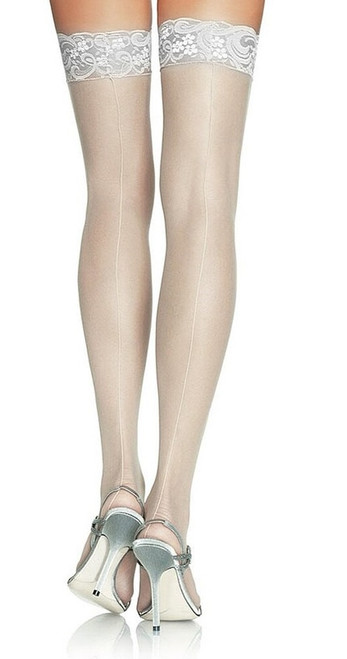 Plus Sheer Lace Stocking White