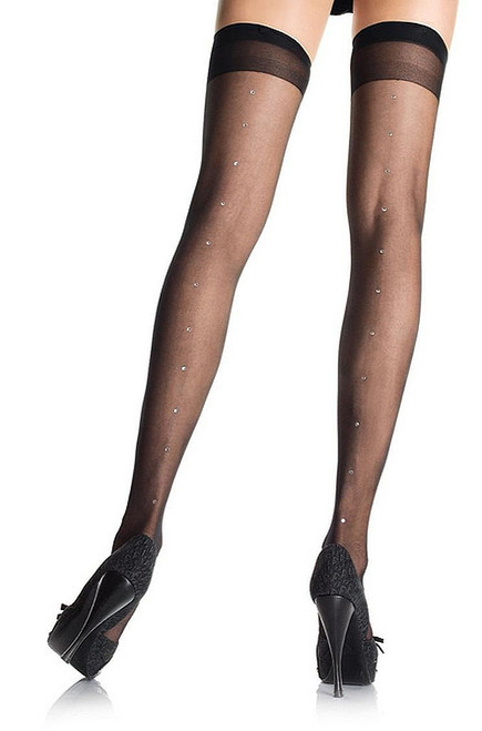 Plus Sheer Rhinestone Thigh Highs