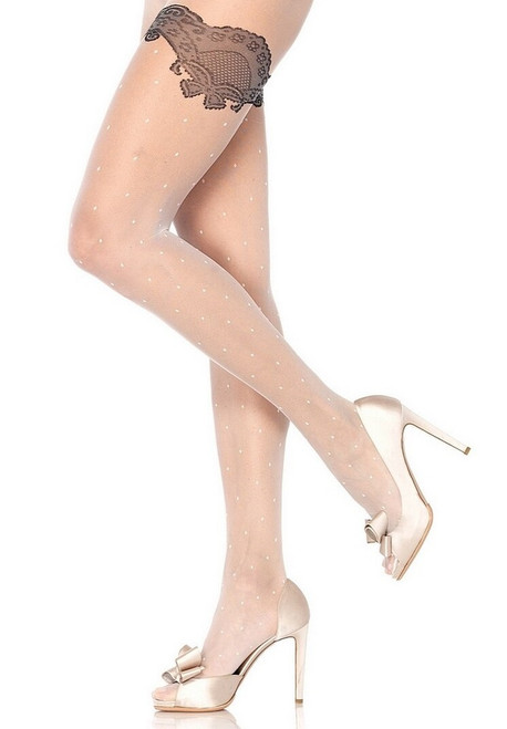 Sheer Polka Dot Pantyhose White