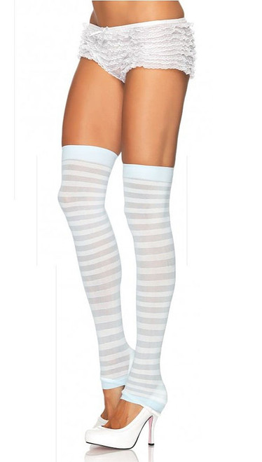 Opaque Striped Leg Warmer W/Bl