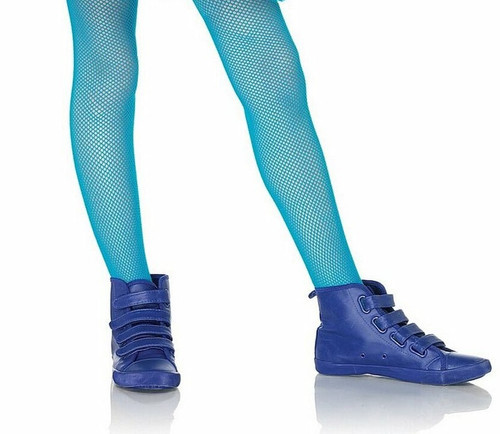 Child Fishnet Tights Neon Blue