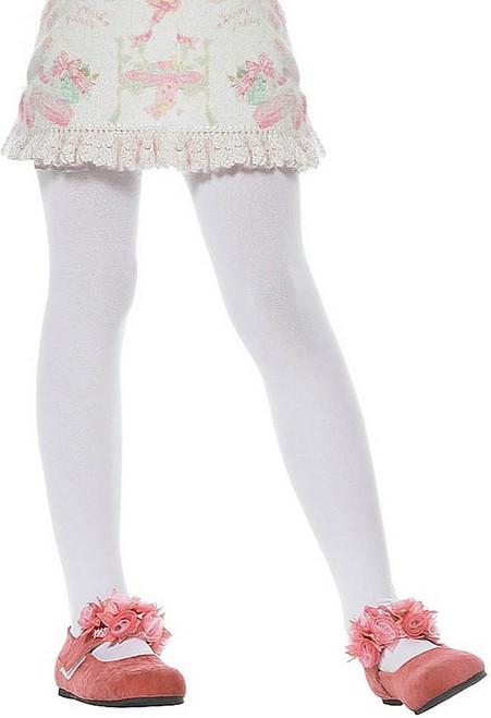 Girls Opaque White Stockings