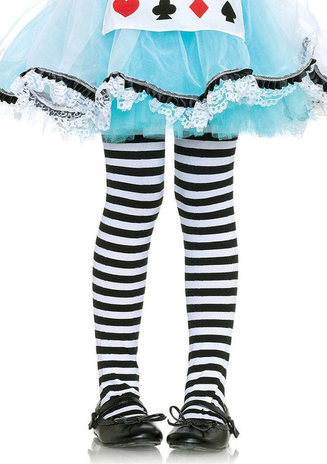 Girl's Black/White Striped Tights