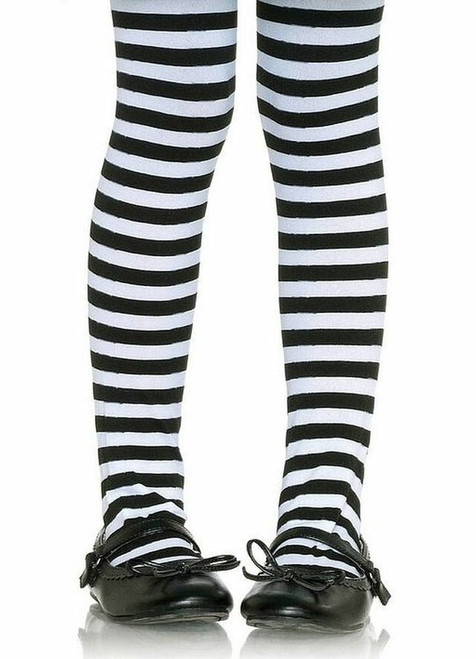 Girl's Black and White Striped Tights