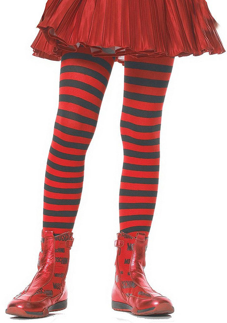 Girls Striped Stockings Red/Black