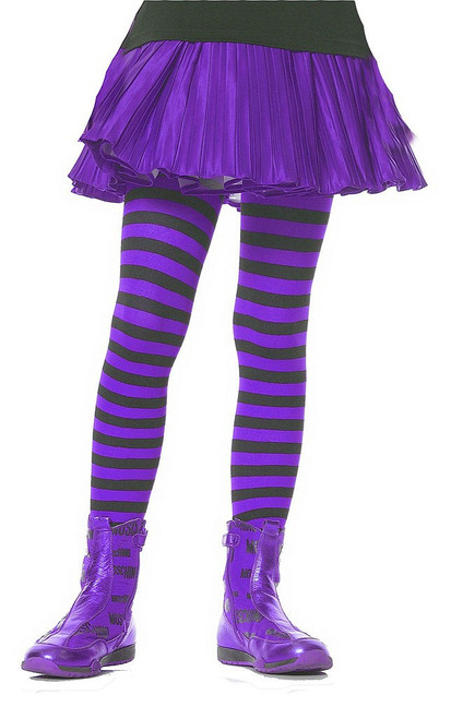 Girls Striped Stockings Purple Black