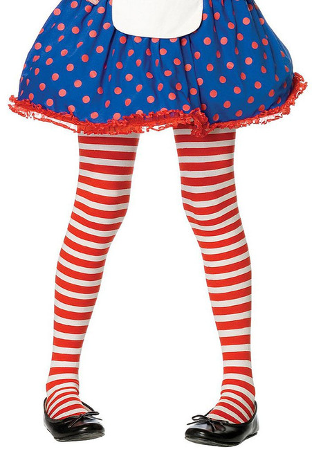 Girls Striped Stockings Red/White
