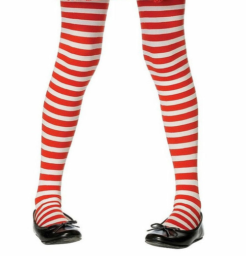 Girls Striped Stockings Red/White