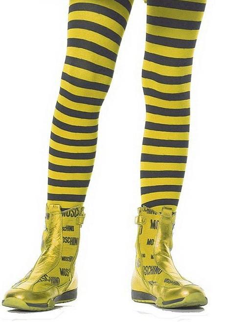 Girls Striped Stockings Yellow Black