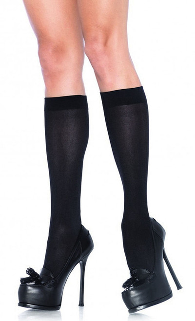 Black Nylon opaque knee highs