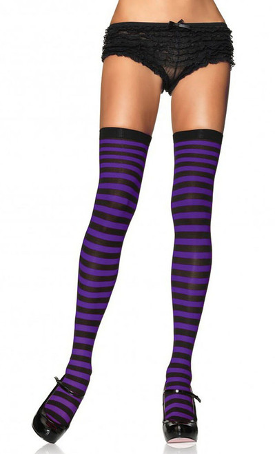 Striped Stockings Black/Purple