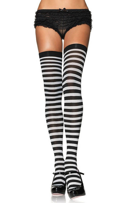 Striped Stockings Black/White